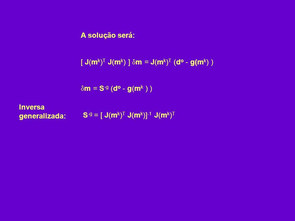 A solução será: [ J(mk)T J(mk) ] m = J(mk)T (do - g(mk) ) m = S-g (do - g(mk ) ) S-g = [ J(mk)T J(mk)]-1 J(mk)T.